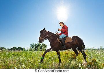 馬, ridding, 若い, 奥地, 緑, 人