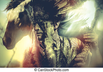 馬, tomahawk, tribe., 責任者, アメリカインディアン, 戦士, 羽, 頭飾り, 人