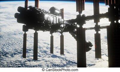 駅, スペース, インターナショナル, 地球, 惑星, 外の, 上に