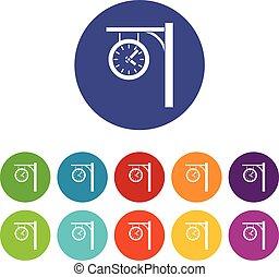 駅, セット, 時計, アイコン