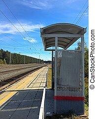 駅, 鉄道列車, 止まれ