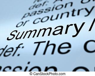 駆り集め, 定義, condensed, 不足分, 提示, 経営者, イラスト, サマリー, レポート, アイコン, 3d