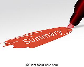 駆り集め, condensed, 不足分, テキスト, 提示, 経営者, イラスト, サマリー, レポート, アイコン, 3d