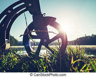 駐車される, 押し, 夕方, 車輪, スクーター, 湖, 前部