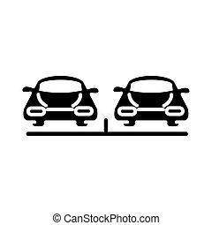駐車, アイコン, シルエット, 前部, スタイル, 自動車, 輸送, 光景, デザイン