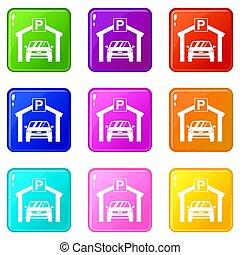 駐車, セット, 9, 自動車, アイコン