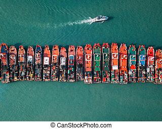 駐車, 船, 貨物, 海洋