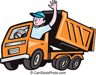 駕駛員, 卡車, 堆放處, 招手, 卡通