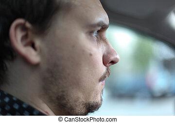 駕駛員, 嚴肅, moustached, 肖像