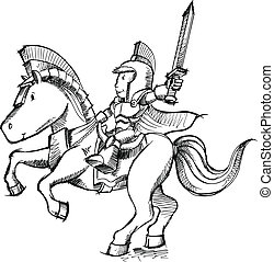 騎士, スケッチ, ベクトル, 芸術, いたずら書き
