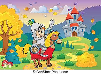 騎士, 上, 馬, 近, 城堡