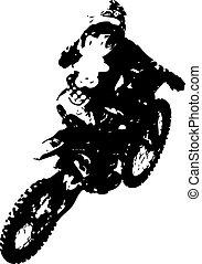 騎手, participates, motocross, championship., 矢量,...