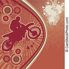 騎自行車的人, grunge, 海報, 矢量
