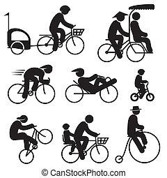 騎車者, 人們