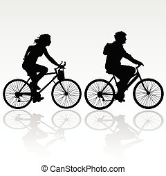騎馬, 婦女, 自行車, 人