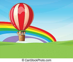 騎馬, balloon, 孩子, 熱空气