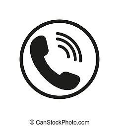 騒々しい, バックグラウンド。, -, vector., 白, 平ら, 呼出し, 隔離された, 呼出し, 電話アイコン, ベクトル, シンボル