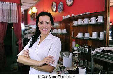 驕傲, 以及, 充滿信心, 所有者, ......的, a, cafe/, 糕點, 商店