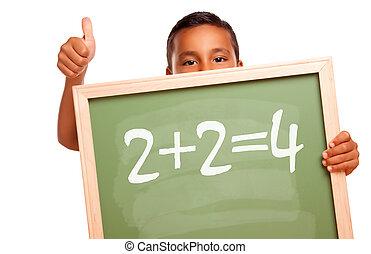 驕傲, hispanic, 男孩, 藏品, 黑板, 由于, 數學, 等式
