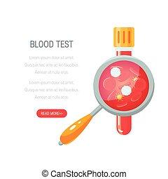 驗血, 概念, 矢量, 設計, 在, 套間, 風格