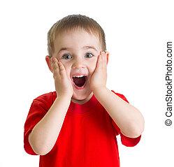 驚かされる, 小さい 男の子, 肖像画, 中に, 赤, tshirt, 隔離された
