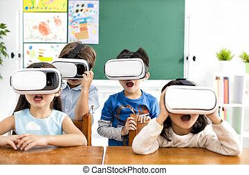 驚かされる, 生徒, ∥で∥, バーチャルリアリティ, ヘッドホン, 中に, 教室