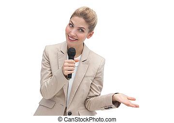驚かせられた, 話すこと, マイクロフォン, 女性実業家