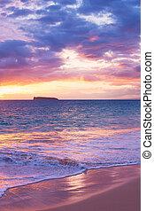 驚かせること, 浜, 日没, トロピカル