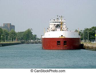 驳船, 湖, 巨大