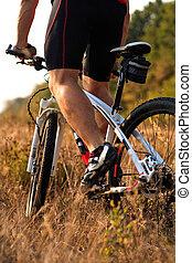 骑车者, 山, 岩石, 形迹, 自行车摆脱