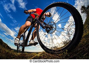 骑车者, 山, 岩石, 形迹, 自行车摆脱, 日出