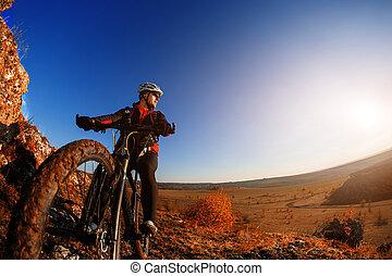 骑车者, 山, 角度, 岩石, 形迹, 自行车, 低, 摆脱, 日出, 察看