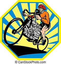 骑车者, 引擎, 放置, 自行车, 汽车, 内部, 八边形, 竞赛, v8, 摆脱, sunburst