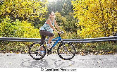 骑车, 在中, 秋季
