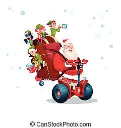 骑, 电的小摩托车, claus, 淘气小鬼, 问候, santa, 年, 新, 圣诞贺卡, 开心