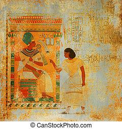 骨董品, エジプト, グランジ, 背景