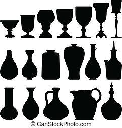 骨董品, ガラスワイン, 型, 台所