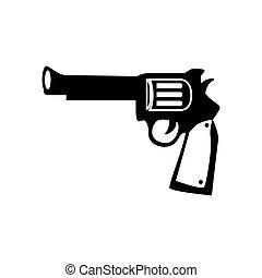 骨董品, グラフィック, 西, 武器, 銃, ベクトル, アイコン