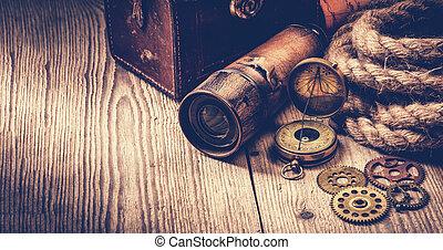 骨董品, グランジ, 木製である, 項目, 型, life., まだ, テーブル