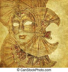 骨董品, グランジ, 豊富, 壁紙, マスク, ベニス市民, ペーパー, 音楽, 装飾