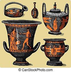 骨董品, スケッチ, 古代, 古い, 現場, セット, amphora, 生活, 型, つぼ, 見る, 切口, 木, レトロ, ギリシャ, 引かれる, 手, 刻まれる, ∥あるいは∥, スタイル