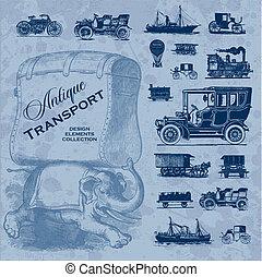 骨董品, セット, 交通機関, (vector)