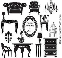 骨董品, セット, -, 隔離された, シルエット, 黒, 家具