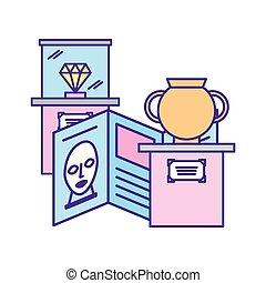 骨董品, ダイヤモンド, 博物館, つぼ, パンフレット, 展覧会, ガイド