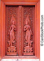 骨董品, ドア, 木製である, 刻まれた, タイ, 寺院