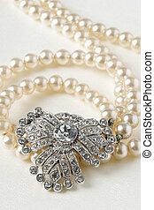 骨董品, ネックレス, ダイヤモンド, 真珠