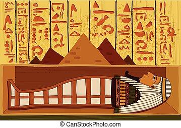 骨董品, パピルス, 象形文字, 背景, エジプト人