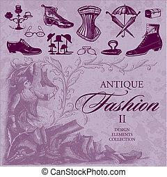 骨董品, ファッション, セット, (vector)