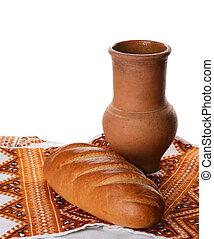 骨董品, ローフ, 水差し, 隔離された, 無作法, 白ワイン, bread