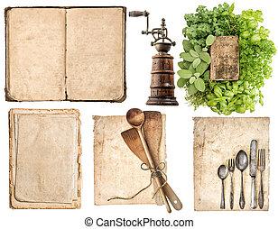 骨董品, 使われた, 古い, 木製である, 道具, ハーブ, ペーパー, 料理の本, 台所